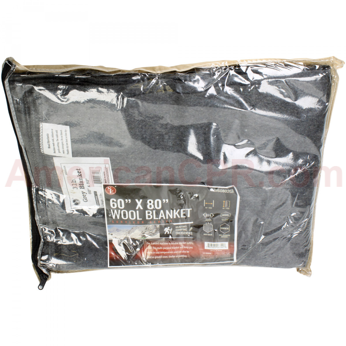 "60-70% Wool Blanket 60"" x 80"" - Value Brand"
