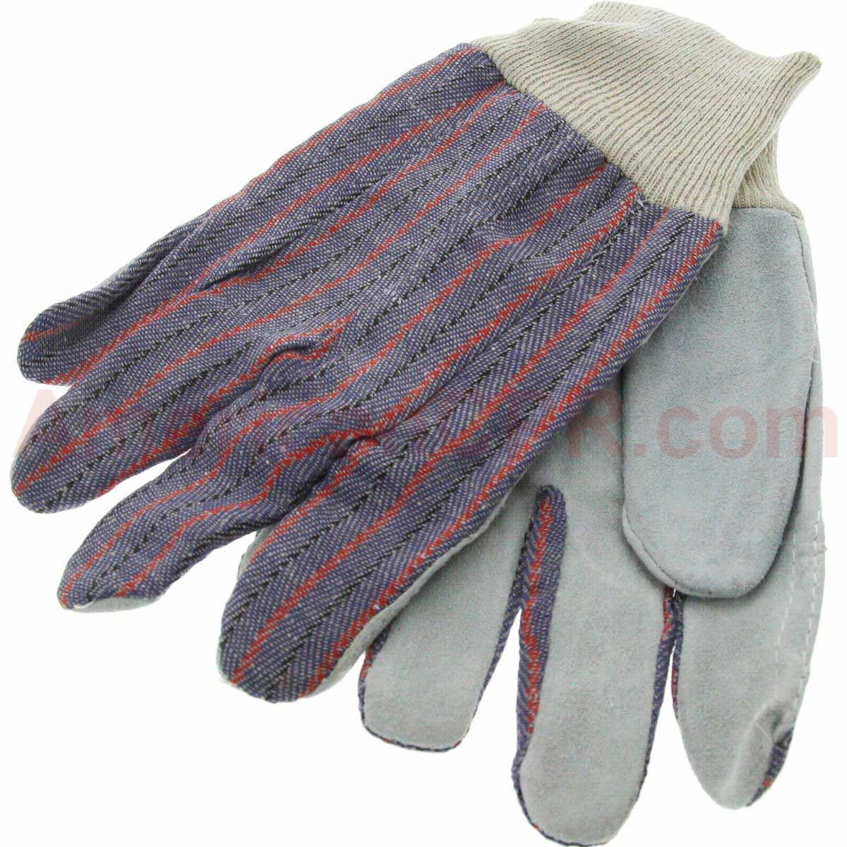 Work Gloves Leather Palm - Value Brand