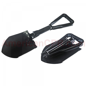 23 Black Tri-Fold Serrated Shovel W/Carrying Case, SE