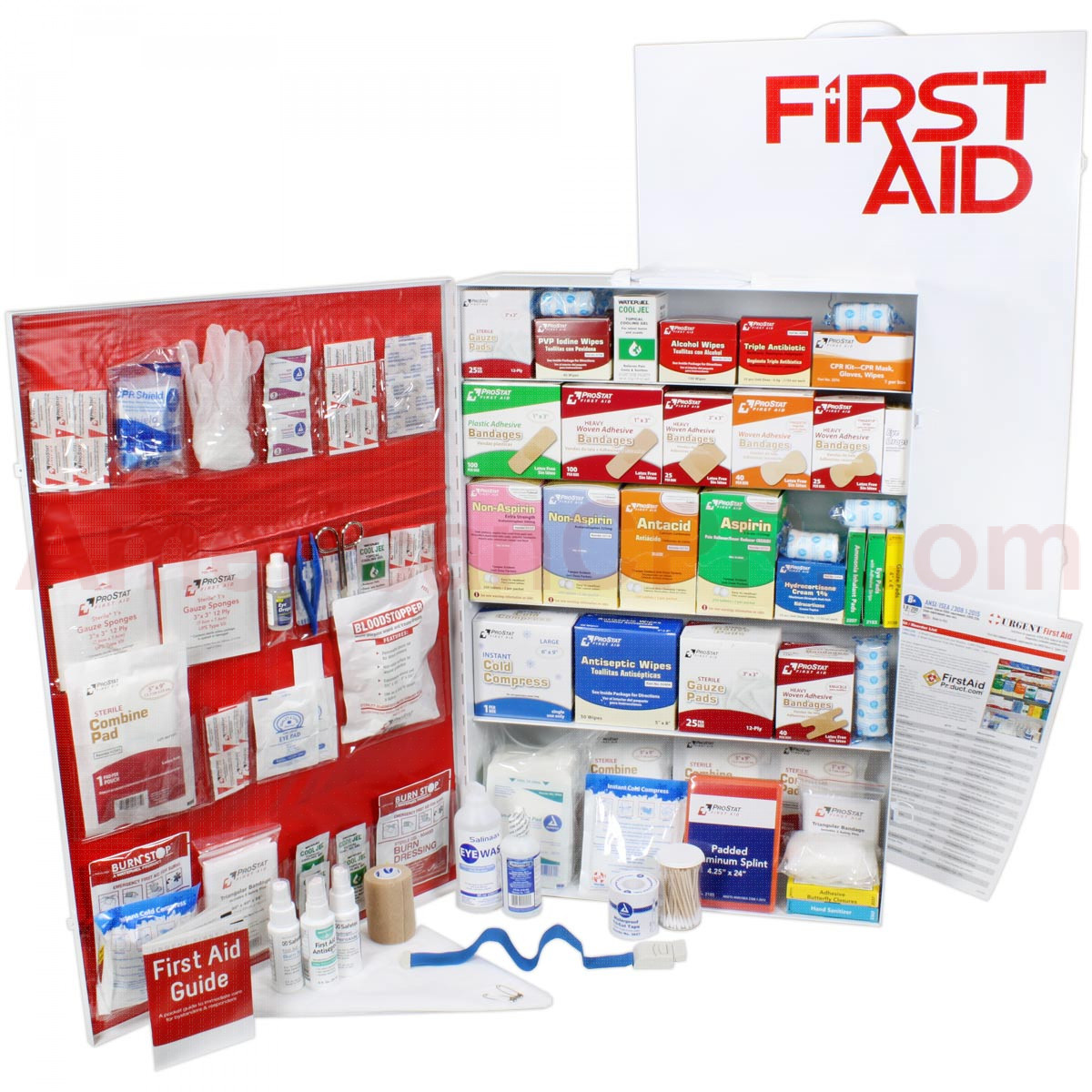 5 Shelf Industrial ANSI B+ First Aid Station, Pocketliner - 200 Person - Urgent First Aid