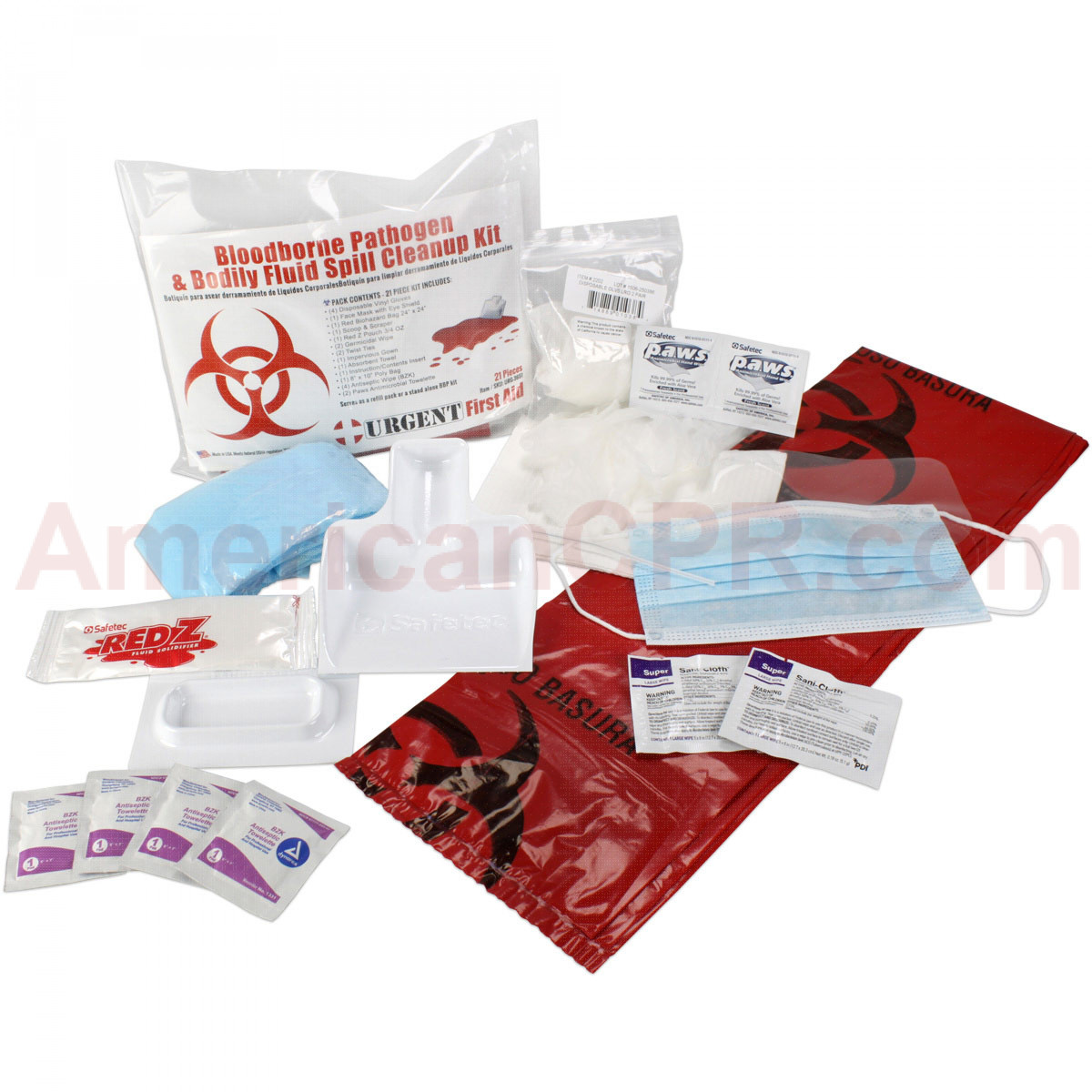 21 Piece Bodily Fluid Clean Up Pack / Bloodborne Pathogen Spill Kit, Urgent First Aid