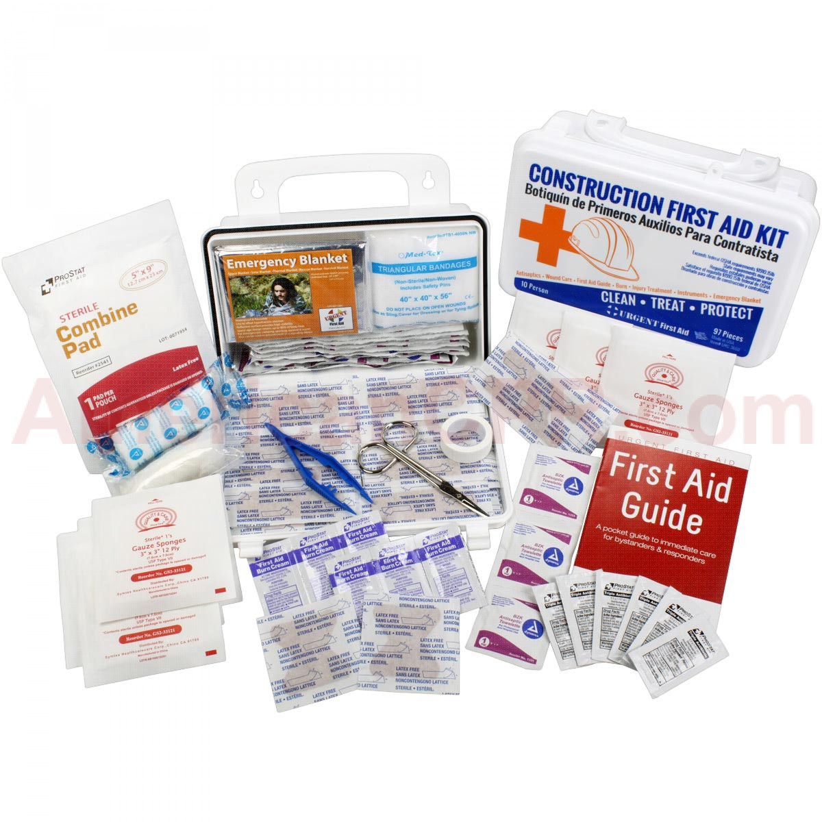 Bilingual OSHA Contractors First Aid Kit for Job Sites up to 10 People – Gasketed Plastic, 97 pieces, Urgent First Aid