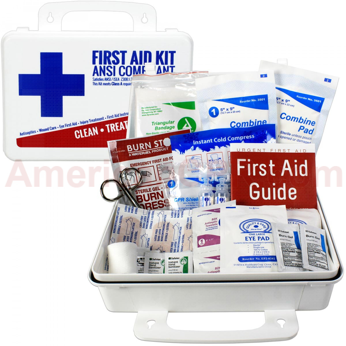 Bulk First Aid Kit, Plastic, 74 Pieces, ANSI A, 25 Person, Urgent First Aid