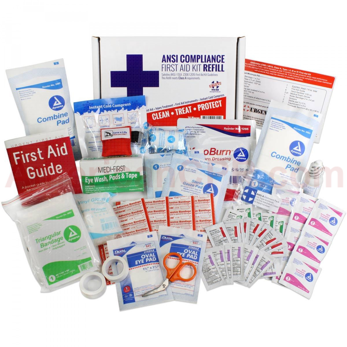 Bulk First Aid Kit Refill, 73 Pieces, ANSI A, 25 Person, Urgent First Aid