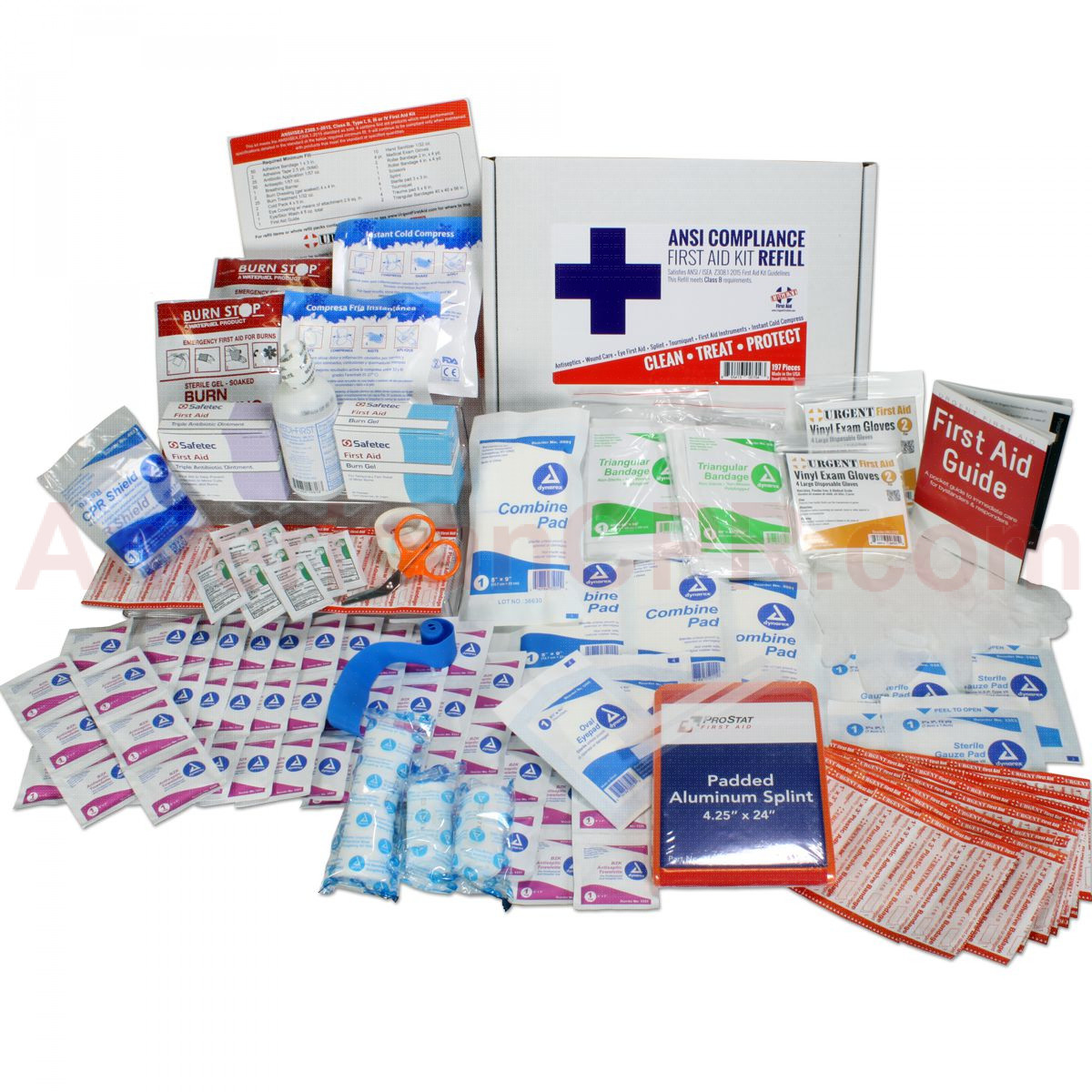Bulk First Aid Kit Refill, 197 Pieces, ANSI B, 50 Person, Urgent First Aid