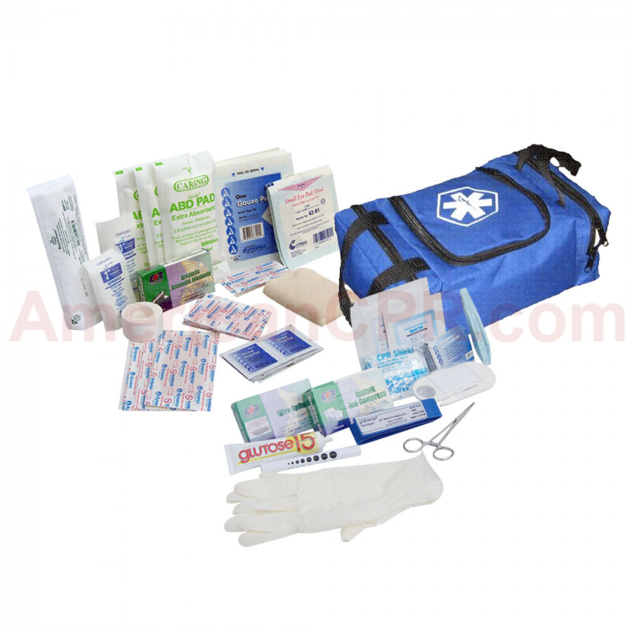 First Responder Kit / Jump Bag - 80 Pieces - Blue - Urgent First Aid