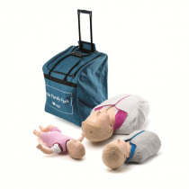 The Laerdal Little Family Pack features Adult, Child, and Infant CPR Manikins in a roller bag