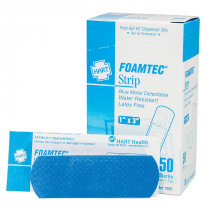 "1"" x 3"" Blue Foam Metal Detectable Adhesive Bandages - 50 per Box - Hart"