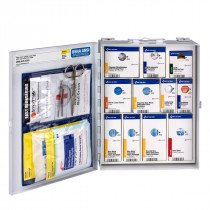 This general industry fully stocked, wall-mountable first aid cabinet meets the requirements for first aid established by OSHA