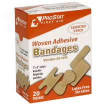 Assorted Woven Adhesive Bandages, 20 per Box, Prostat First Aid