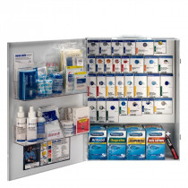 XL Metal Smart Compliance Food Service First Aid Cabinet with Meds, First Aid Only