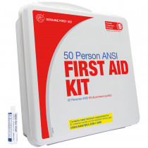 50 Person Basic Bulk First Aid Kit with Eye Wash - Plastic - Genuine First Aid