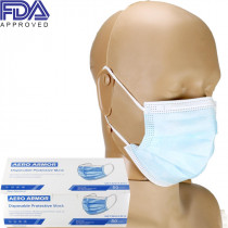 Disposable Protective Face Mask with Ear Loop, blue, FDA APPROVED, Box of 50, Aero Armor