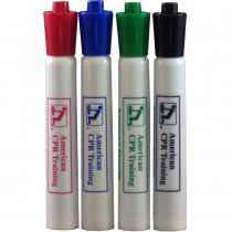 AEHS Dry Erase Pens- 4 pack (Red, Green, Blue, & Black) - American CPR Training
