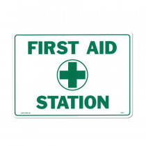 "First Aid Sign - ""First Aid Station"" - Plastic - Value Brand"