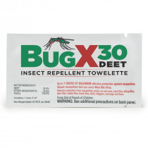 Insect Repellant Towelette, 30% DEET - 1 Each - BugX