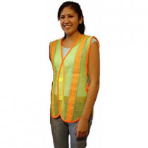 Safety Vest-Lime Green w/ Reflect Tape - Value Brand