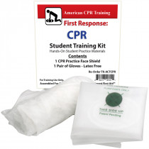 American CPR Training Student CPR Practice Kit showing Gloves and Practice Face Mask