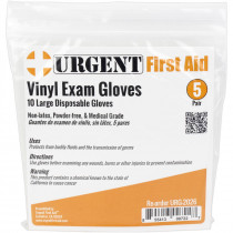 Disposable Gloves, Large, 5 Pair Per Bag, Urgent First Aid