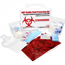 BBP / Bodily Fluid Protection Kit with Bonus 6 piece CPR kit for additional Rescuer Protection - Urgent First Aid