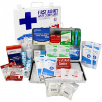 Bulk First Aid Kit, Metal, 198 Pieces, ANSI B, 50 Person, Urgent First Aid