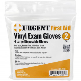 Disposable Gloves, Large, 2 Pair Per Bag, Urgent First Aid