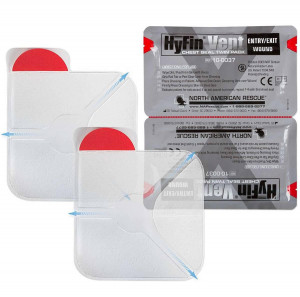 """The Hyfin Vent Chest Seal, 6"""" x 6"""", Twin Pack, North American Rescue"""
