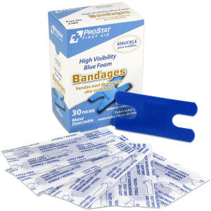 Knuckle High Visibility Blue Foam Bandages, Metal Detectable, 30 per box, Prostat First Aid