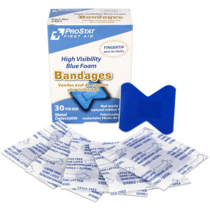 Fingertip High Visibility Blue Foam Bandages, Metal Detectable, 30 per box - Prostat First Aid