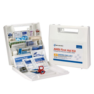 50 Person First Aid Kit, ANSI A, Plastic Case with Dividers -  First Aid Only