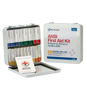 24 Unit First Aid Kit, ANSI A+,  Metal Case -  First Aid Only