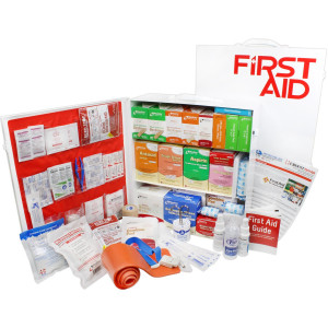 3 Shelf Industrial ANSI B+ First Aid Station, Pocketliner - 100 Person - Urgent First Aid