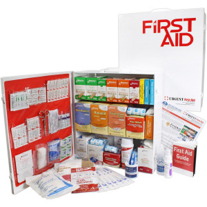 3 Shelf Industrial ANSI A+ First Aid Station, Pocketliner - 100 Person - Urgent First Aid