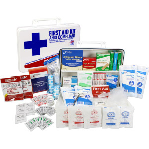 Bulk First Aid Kit, Plastic, 198 Pieces, ANSI B, 50 Person, Urgent First Aid