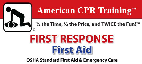 C.A.R.E. training banner with the ACPR trademark: Half the time, half the price and twice the fun. This training is for AED Automated External Defibrillator.