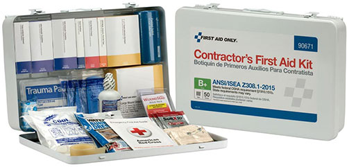 Image displaying a 50 Person ANSI Class B Contractor First Aid Kit with Metal Case
