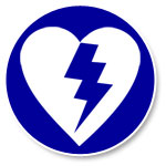 Graphic of a AED icon. A heart with a lighting bolt through the center