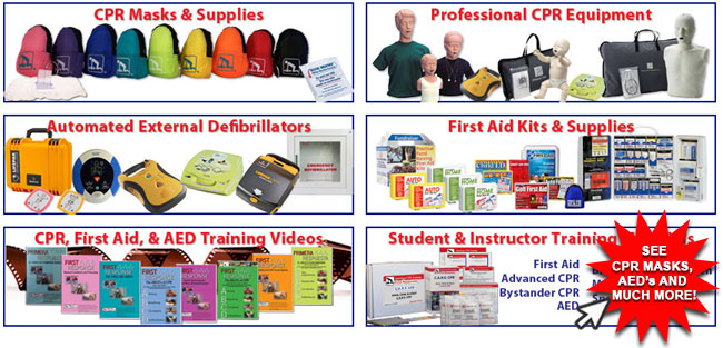 Graphical image link to CPR Masks and other cool CPR and AED products. Categories on image include CPR masks and supplies, professional CPR equipment, automated external defibrillators, first aid kits and supplies, CPR training videos and student/instructor training. See Cool CPR & AED Products.