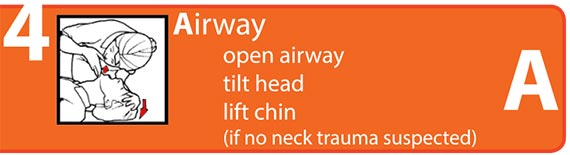 Airwaw, open airway, tilt head, lift chin (if no neck trauma suspected)