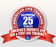 Emblem celebrating our 20 plus years. Emblem reads: America's favorite CPR, AED and first aid training.
