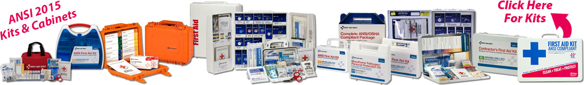 Image displaying a wide range of ANSI comliant first aid kits.