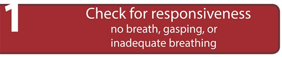 Check for responsiveness no breath, gasping, or inadequate breathing