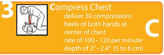 Compress Chest, deliver 30 compressions, heels of both hands at center of chest, rate of 100+ per minute, depth of at least 2 inches