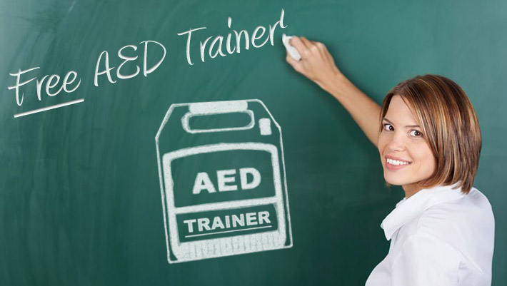 Image of American CPR™ teacher writing on chalk board which reads: Free AED Trainer!