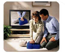 image of a couple learning CPR at home