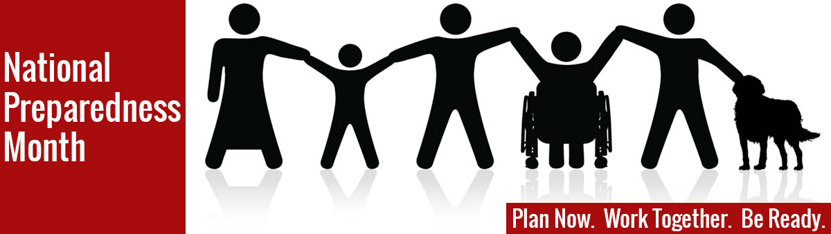 Image shows a silhouette of people holding hands with a message that states to work together and be ready for disasters.