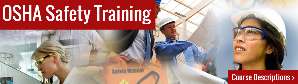 OSHA Safety Training - Yes, we do that too. Image of a of people with hard hats and other person protective equipment.