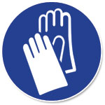 Graphic of protective glove icon.