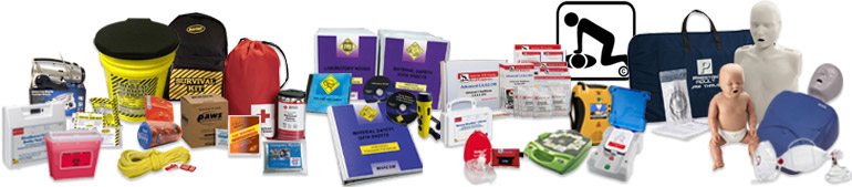 Image of a large variety of CPR, AED, First Aid, BBP, Survival, Safety & Medical / Health Education products such as CPR training manikins, CPR face masks, emergency survival radio with flashlight, bloodborne pathogen used needle conatiner, CPR & First Aid kits etc.
